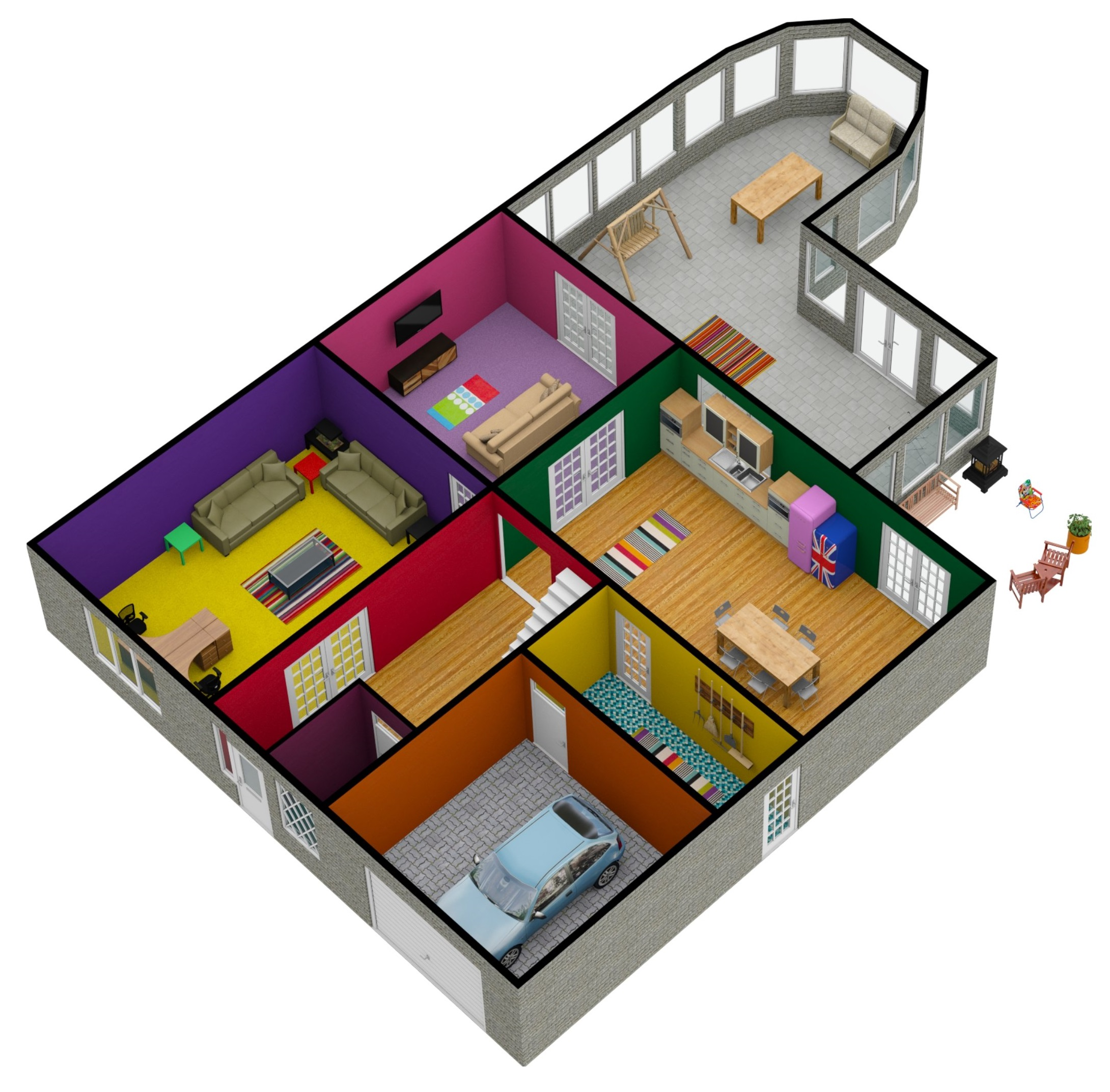 5 bed downstairs 3D 2