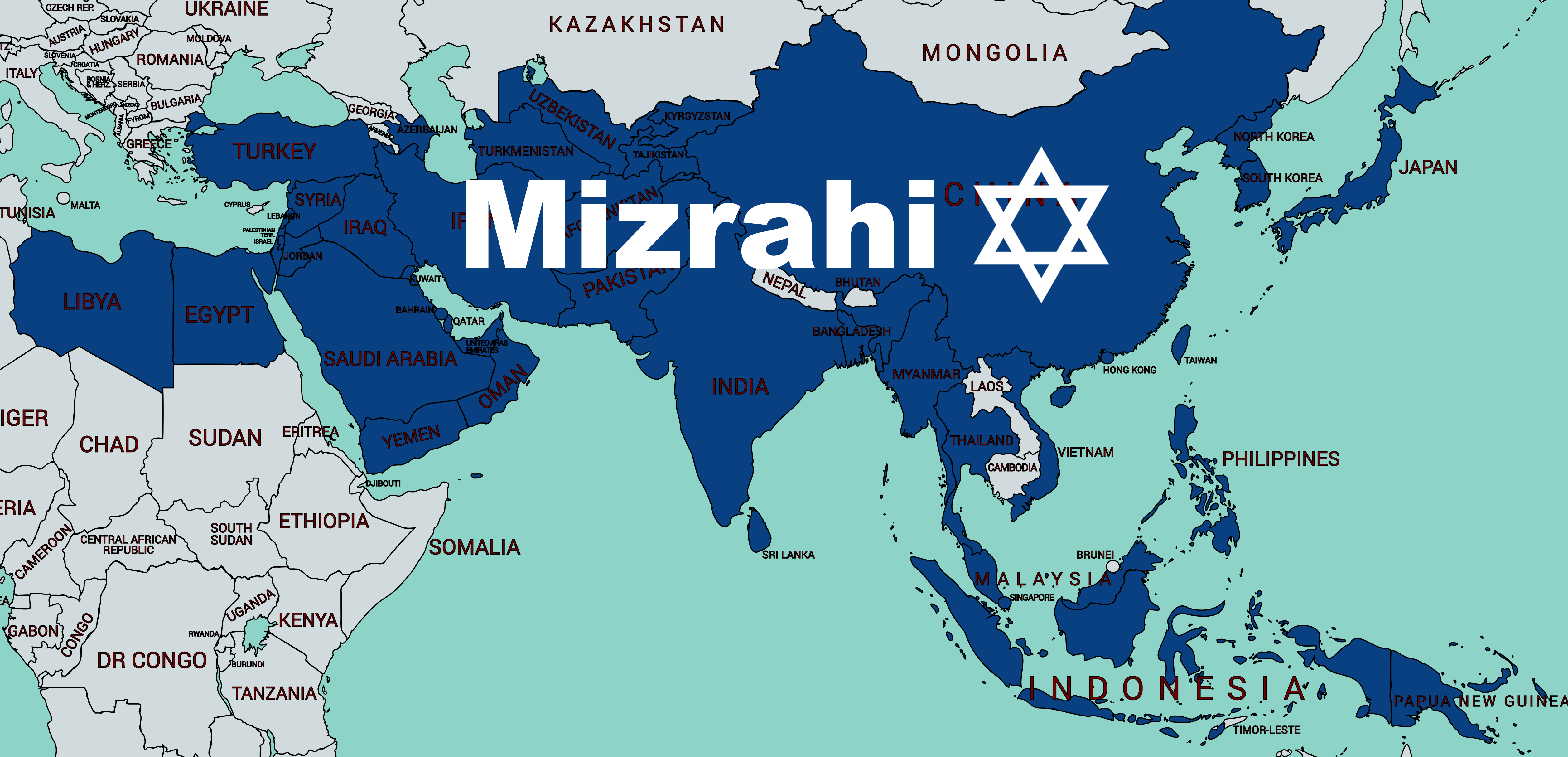Mizrahi Jews map text